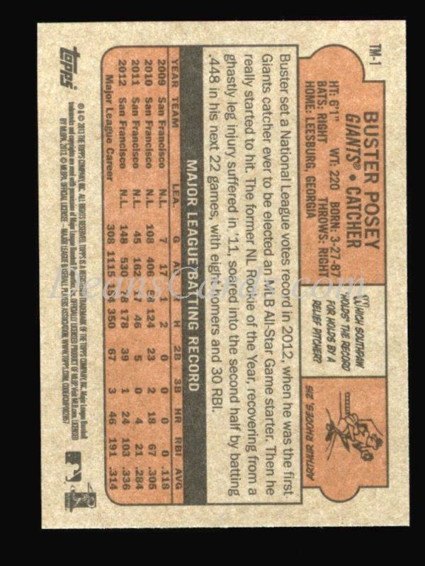 2013 Topps 1972 Minis #1  Buster Posey